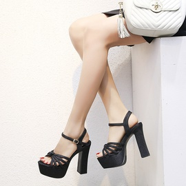 Fashion Thick Heel Hollow Shoes   NSCA38282