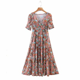 Sleeves Pleated Two-piece Printed V-neck Dress NSAM38328