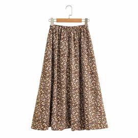 Retro Print Elastic Waist Loose Mid-length Skirt NSAM38345