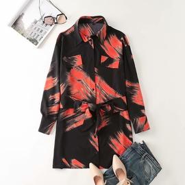 Tie-dye Watermark Printing Loose Shirt Dress NSAM38361