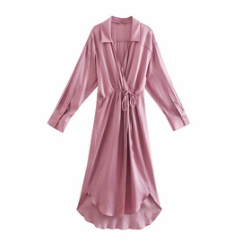 Lapel Long-sleeved Knotted Shirt Dress NSAM38363