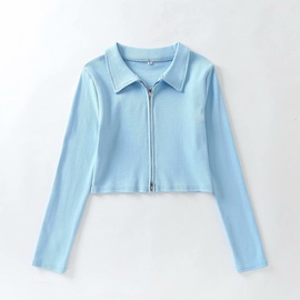 Double-headed Zipper Small Lapel Knitted Jacket  NSAM38375