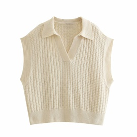 Lapel Yarn Knitted Vest  NSAM38382