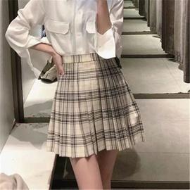 New High Waist Plaid Pleated Skirt  NSAC38404