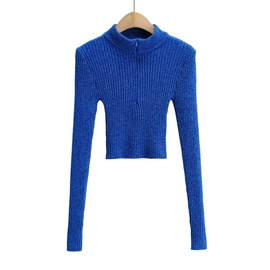 High Neck Slim Zipper Long-sleeved Sweater NSAC38421