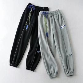 Elastic Waist Drawstring Reflective Striped Guard Pants NSAC38422