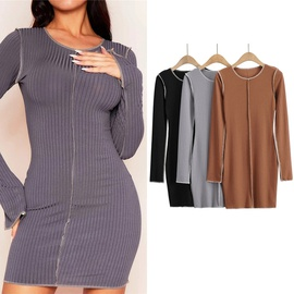 fashion stretch long-sleeved knitted dress  NSLD38481