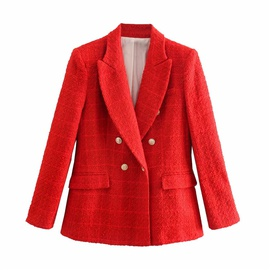 Solid Color Double-breasted Suit Jacket  NSLD38497