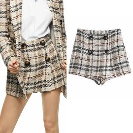 High-waist Contrasting Plaid Tweed Shorts   NSLD38498