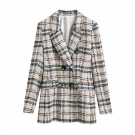 Contrast Plaid Mid-length Suit Jacket NSLD38499