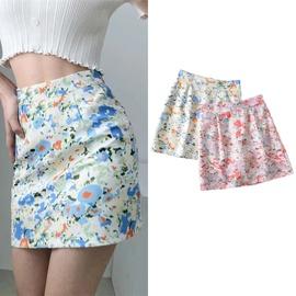 Print High-waisted Short Skirt  NSLD38500