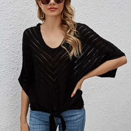V-neck Bat-sleeved Knit Top  NSYH38521