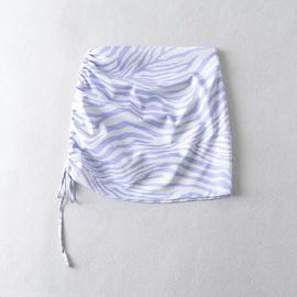 Side Folds Drawstring Bag Hip Short Skirt NSHS38531