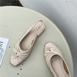 Square Toe Pleated Soft Leather Flat Shoes NSHU38585