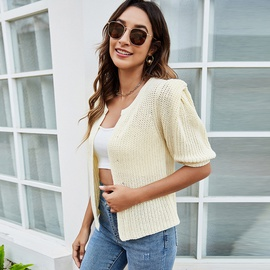 Solid Color Puff Sleeve Knitted Cardigan NSYH40509