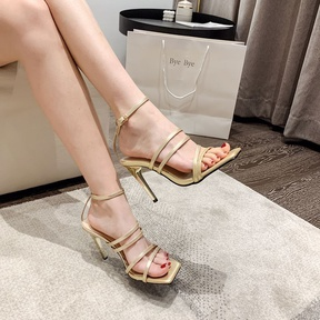 Square Toe Strap High-heel Buckle Golden Sandals  NSSO40514