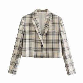 Plaid Short Casual Slim Suit Jacket NSAM40538