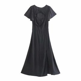 Polka Dot Hollow Short-sleeved Split Dress NSAM40541