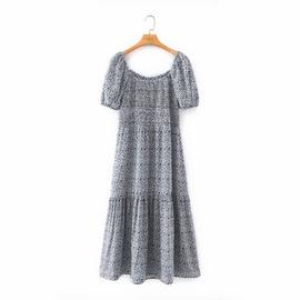 Retro Printed Bubble Short-sleeved Slim Dress NSAM40543