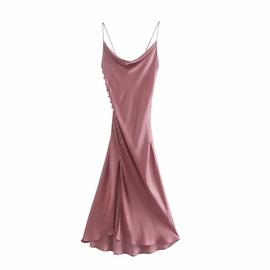 Spring Silk Satin Texture Suspender Dress  NSAM40560