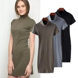 Fashion High Waist Half High Neck Dress NSAC40574