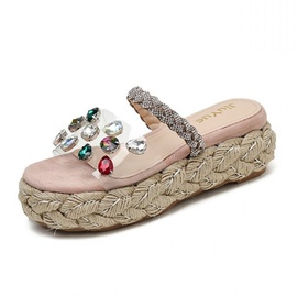 Rhinestone Transparent Strap Beach Shoes  NSHU40619