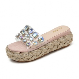 Rhinestone Twine Thick Bottom Slippers  NSHU40622