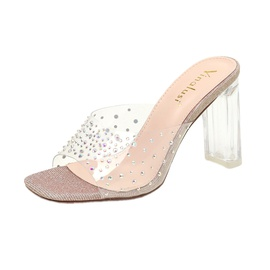 Transparent Crystal Thick Heel Slippers  NSHU40623