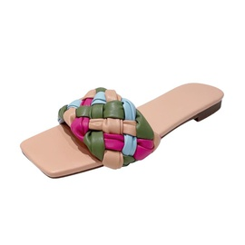 Color Matching Braided Flat Slippers NSHU40626