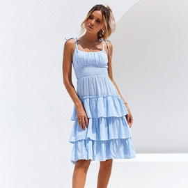 Sexy Sling Fold Solid Color Mid-length Dress NSYI40648