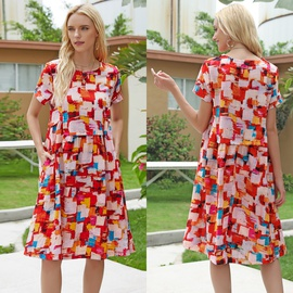 Fashion Temperament Loose Abstract Tie-dye Dress NSJR40707