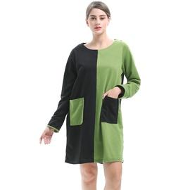 Loose Round Neck Contrast Long-sleeved Dress NSJR40709