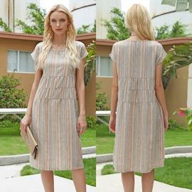 Fashion Temperament Stripe Stitching Loose Dresses  NSJR40711
