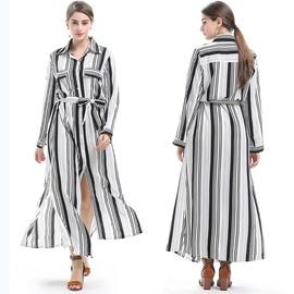 Striped Print Loose Long Sleeve Shirt Dress NSJR40714