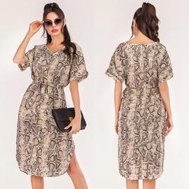 V-neck Snakeskin Pattern Print Short-sleeved Dress NSJR40716