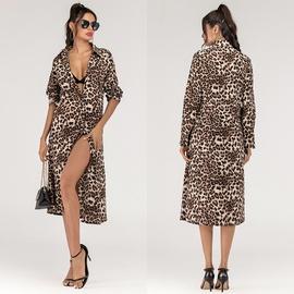 Lapel Leopard Print Long Fashion Dress NSJR40718