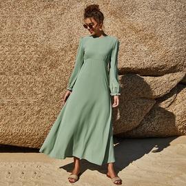 Chiffon Solid Color Elastic Sleeves Big Swing Dress  NSLM40722