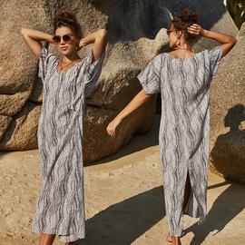 Fashion Short Sleeve Retro Striped Print Dress  NSLM40723