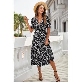 Hedging V-neck High-waist Short-sleeved Printed Dress NSSA40728