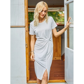 Round Neck Short-sleeved Striped Knitted Dress NSSA40729