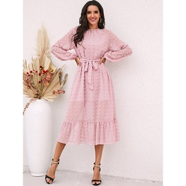 Fashion Round Neck Long Sleeve Solid Color Dress NSSA40731