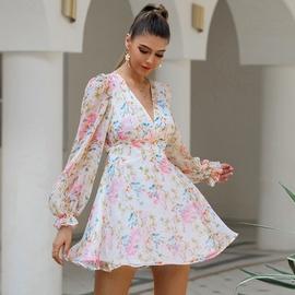 Printed Chiffon Halter Long-sleeved Dress NSWX40734