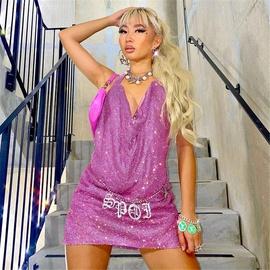 V-neck Sexy Strapped Metal Rhinestone Dress  NSXYA40762
