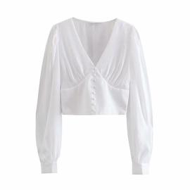 Fashion Casual Lantern Sleeves V-neck Shirt NSAM40187