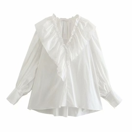 Loose Ruffled Long-sleeved Cotton Blouse  NSAM40186