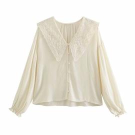 Retro Lace Lapel Embroidery Neckline Shirt  NSAM40168