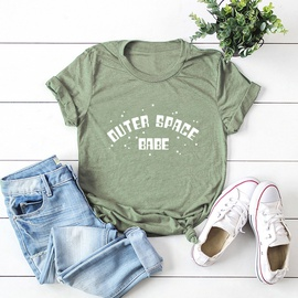 Letters Printed Cotton Short-sleeved T-shirt NSSN40863