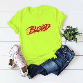 New Letters Printed Cotton Short-sleeved T-shirt  NSSN40866