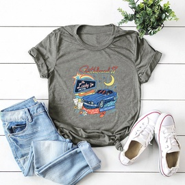 Letter Car Printing Pure Cotton Short-sleeved T-shirt NSSN40869