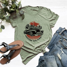 Plus Size Car Pattern Printing Cotton Short-sleeved T-shirt  NSSN40889